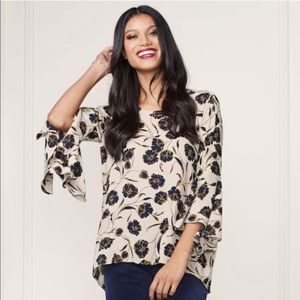 Lauren Conrad Blue cream bell sleeve floral blouse